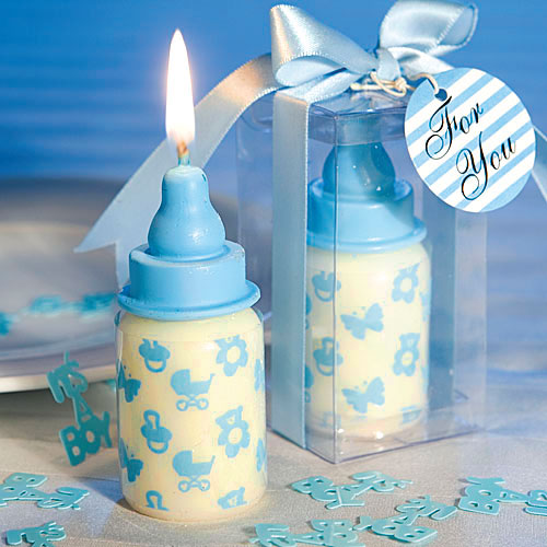 25 Baby Shower Favors Blue Baby Bottle Candle Favors Baby Boy Party Decor
